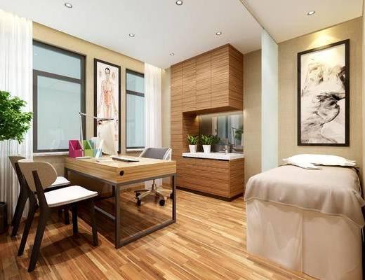 医院, 诊室, 现代, 桌椅, 装饰画