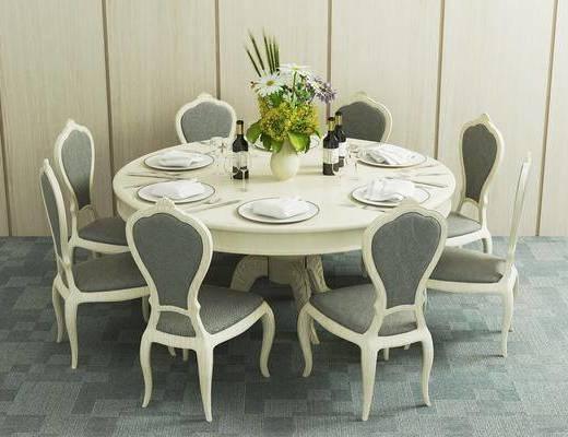 餐桌, 椅子, 圆桌, 花瓶, 花卉, 餐具, 刀叉, 碗碟, 单椅, 简欧