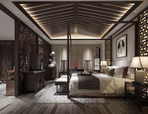 客服, 卧室, 床尾凳, 床, 中式, 中式卧室