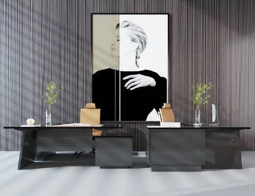 现代, 轻奢, 书桌, 组合