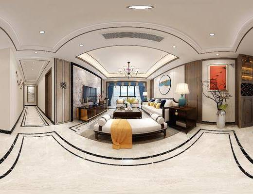 客厅, 餐厅, 家装全景, 沙发组合, 沙发茶几组合, 餐桌椅组合, 玄关走廊, 新中式
