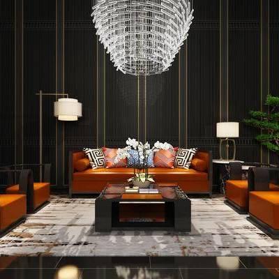 沙发组合, 沙发茶几组合, 新中式, 多人沙发