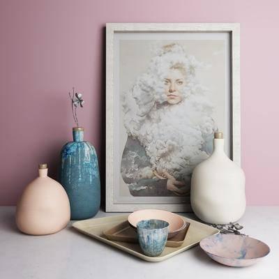 陶瓷, 器皿, 摆件组合, 北欧瓷器摆件, 北欧