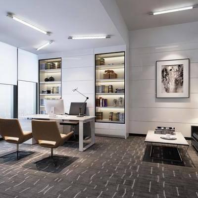 办公桌, 办公椅, 单人椅, 多人沙发, 装饰柜, 茶几, 摆件, 装饰画, 现代