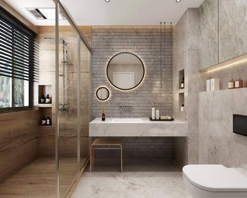 卫生间, 洗手台组合, 马桶, 装饰镜, 吊灯, 花洒, 现代