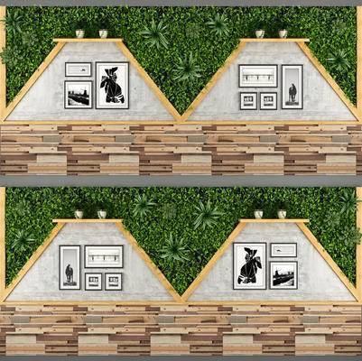 咖啡厅, 奶茶店, 仿旧木板, 植物绿, 背景墙, 装饰画