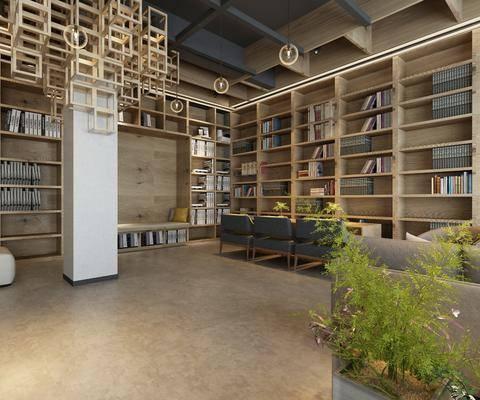 现代图书馆阅览室, 书架, 书柜, 沙发椅, 现代, 绿植
