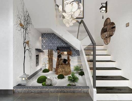 吊灯, 壁灯, 石灯, 楼梯间