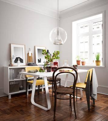 北欧餐厅, 餐桌椅, 桌椅组合, 边柜, 陈设品组合, 吊灯