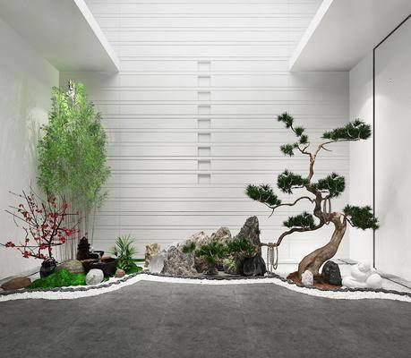 园艺小品, 新中式园艺小品, 绿植, 植物, 假石, 新中式