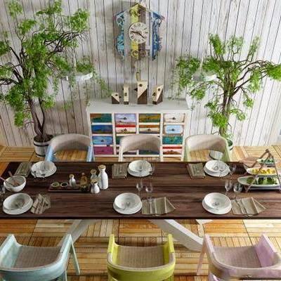 餐桌, 餐椅, 摆件, 北欧