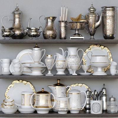 欧式刀叉调羹碟碗杯壶调味瓶蜡烛餐具, 器皿, 碗筷, 刀叉, 餐具, 欧式