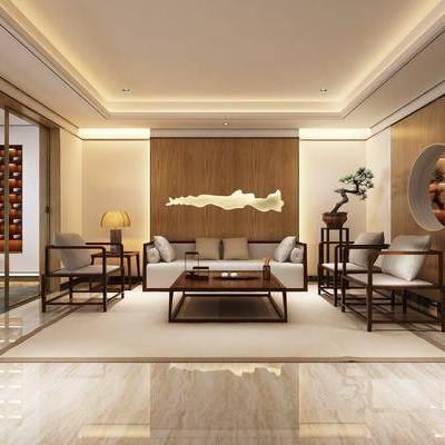 多人沙发, 单人沙发, 边几, 摆件, 茶几, 装饰架, 装饰品, 陈设品, 中式
