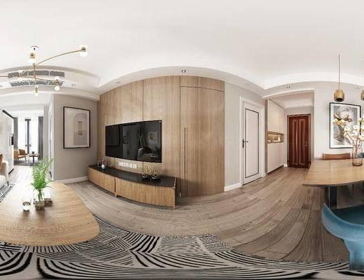 客厅, 餐厅, 客餐厅, 现代客餐厅, 茶几, 沙发, 沙发组合, 挂画, 电视柜, 植物, 盆栽, 摆件, 吊灯, 装饰品, 餐桌, 单椅, 椅子, 现代, 全景图