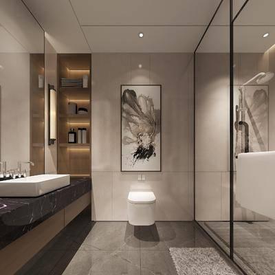 卫生间, 马桶, 装饰画, ?#35789;?#21488;, 花洒, 壁灯, 新中式