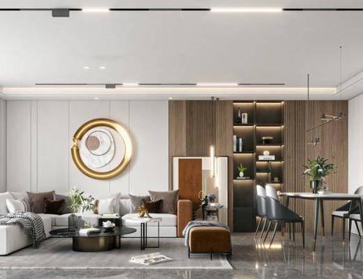 现代轻奢客厅, 转角沙发, 边几, 墙饰