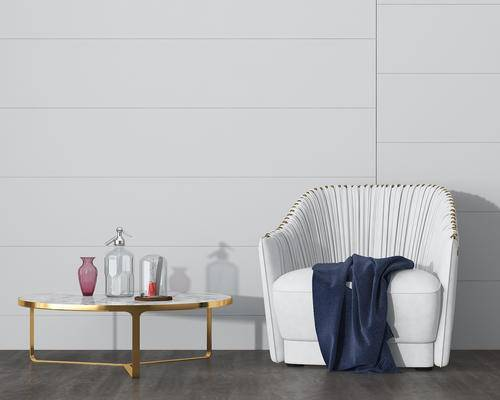 茶几, 椅子, 摆件