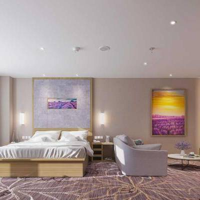 客房, 酒店客房, 现代, 双人床, 衣柜