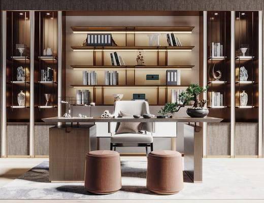 书桌, 书柜, 摆件组合, 盆景