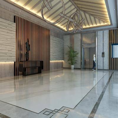 酒店過道, 電梯廳, 背景墻, 地毯走道, 新中式