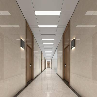 现代, 办公室, 过道, 走廊, 门牌