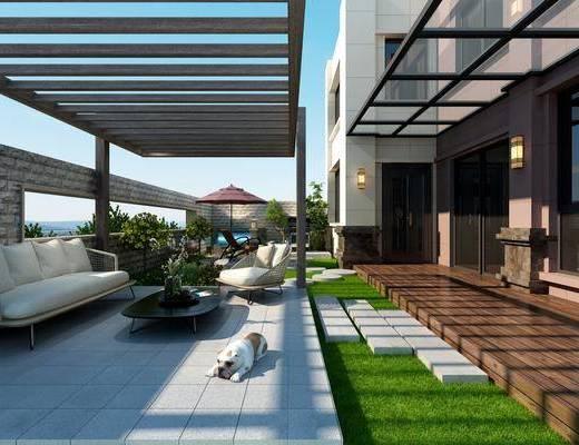 现代园景, 露台, 植物