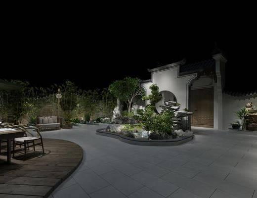 庭院, 新中式户外庭院, 植物, 绿植, 水池, 假山