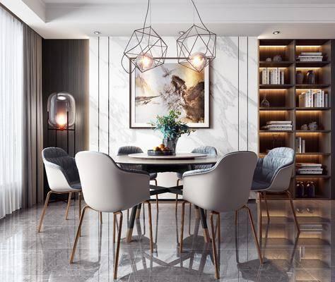 餐桌, 桌椅组合, 装饰画, 吊灯, 落地灯, 书柜