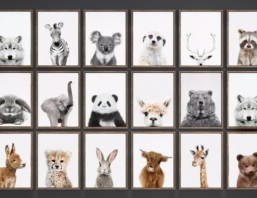现代动物挂画组合, 挂画, 现代