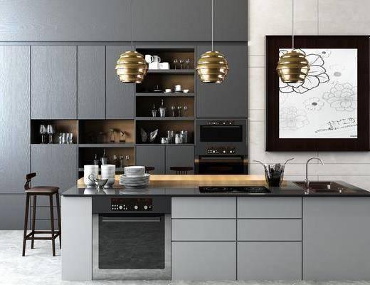 厨房, 橱柜, 装饰柜, 装饰品, 吊灯, 摆件, 单人椅, 现代