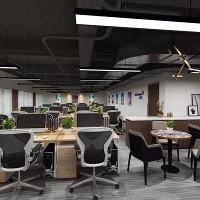 办公室, 电脑桌, 办公桌, 办公椅, 单人椅, 休闲椅, 吊灯, 装饰画, 摆件, 单人沙发, 茶几, 吧台, 工业风