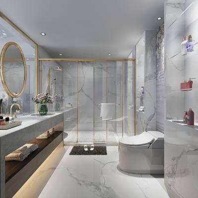 卫浴, 卫生间, 现代卫生间, 淋浴间, 洗手台, 摆件, 卫浴小件, 置物架, 现代