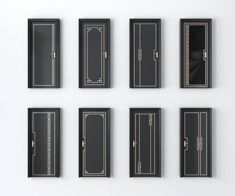 烤漆门, 平开门, 房门组合, 中式