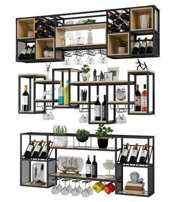 酒柜酒架, 紅酒, 裝飾架, 高腳杯, 酒杯, 水杯, 擺件組合, 置物架, 現代