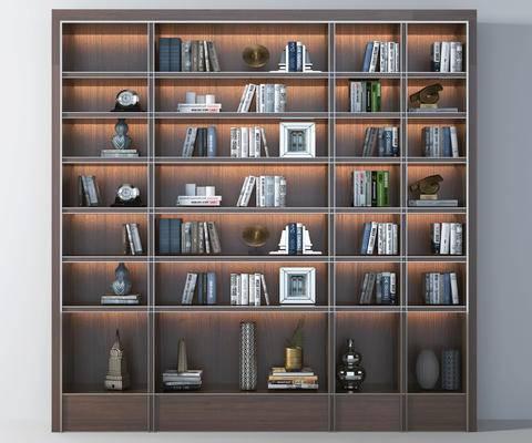 书柜, 实木书柜, 书籍, 摆件, 装饰品