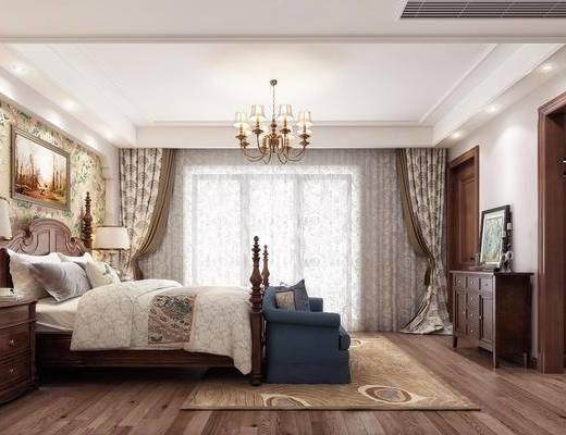 卧室, 床具, 床头柜, 吊灯, 挂画, 装饰画, 床尾踏, 边柜, 摆件, 装饰品, 美式, 美式卧室