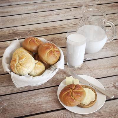 面包, 牛奶, 篮子, 杯子, 现代