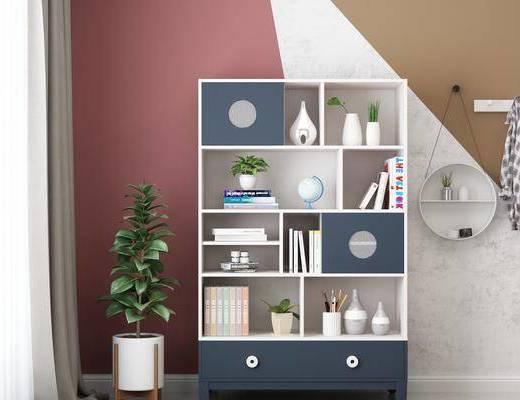 装饰柜, 置物架, 盆栽, 绿植植物, 装饰品, 陈设品, 书籍, 书柜, 现代简约