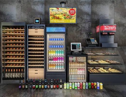 边柜, 酒柜, 收银机, 酒水, 冷柜, 啤酒