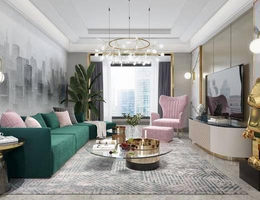 客厅, 沙发组合, 沙发茶几组合, 边柜组合, 摆件组合, 盆栽组合, 绿植植物, 现代轻奢