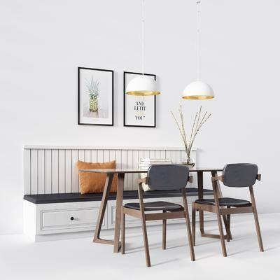 卡座, 餐桌, 单人椅, 休闲椅, 装饰画, 挂画, 吊灯, 摆件, 北欧