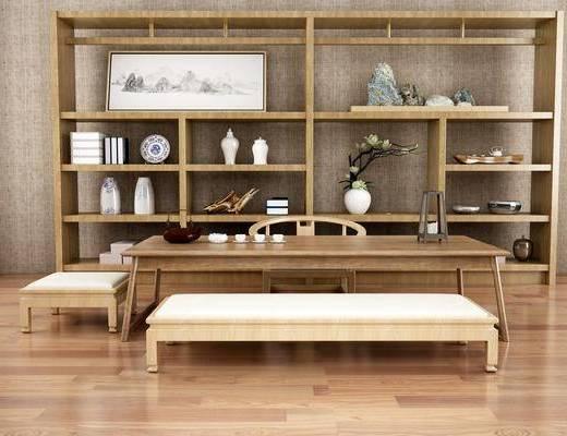 茶室, 茶桌, 单人椅, 书柜, 装饰柜, 摆件, 装饰品, 陈设品, 长椅, 新中式