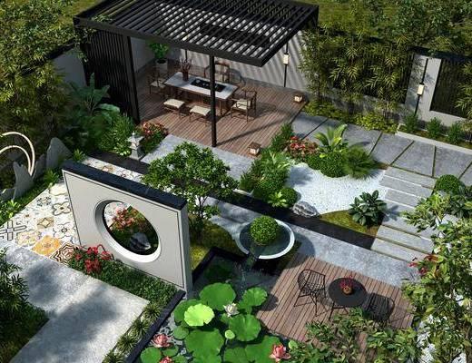新中式, 别墅, 花园