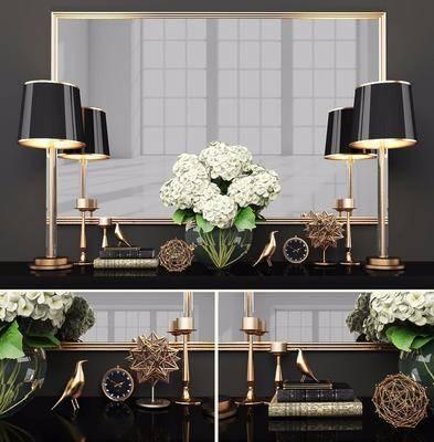 端景台, 摆件组合, 花瓶花卉, 台灯, 现代