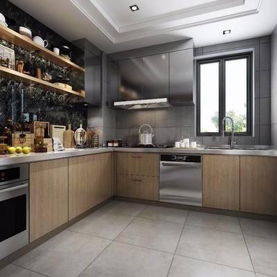 厨房, 现代厨房, 橱柜, 厨具, 摆件, 装饰品, 器皿, 储物罐, 厨具小件, 洗手台, 置物架, 餐具, 现代