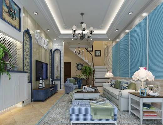 地中海客厅, 多头吊灯, 背景墙, 沙发组合, 茶几, 台灯, 楼梯, 电视柜