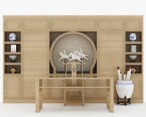 新中式, 书桌, 椅子, 瓷器, 卷福, 摆件, 装饰品, 陈设品, 单椅, 置物柜, 柜架