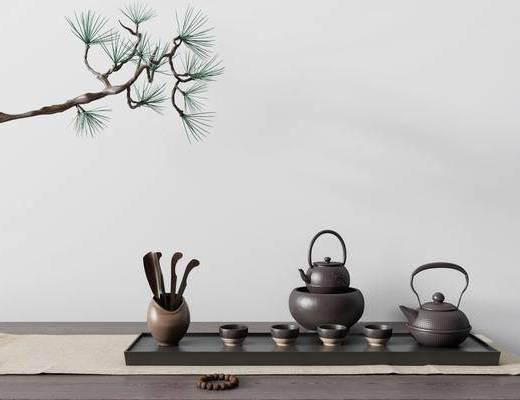 茶具, 茶具组合, 植物