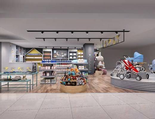 母婴店, 现代, 店铺, 玩偶, 玩具, 婴儿车, 婴儿用品