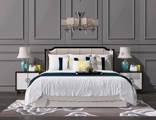 床具组合, 双人床, 床头柜, 台灯, 吊灯, 新中式